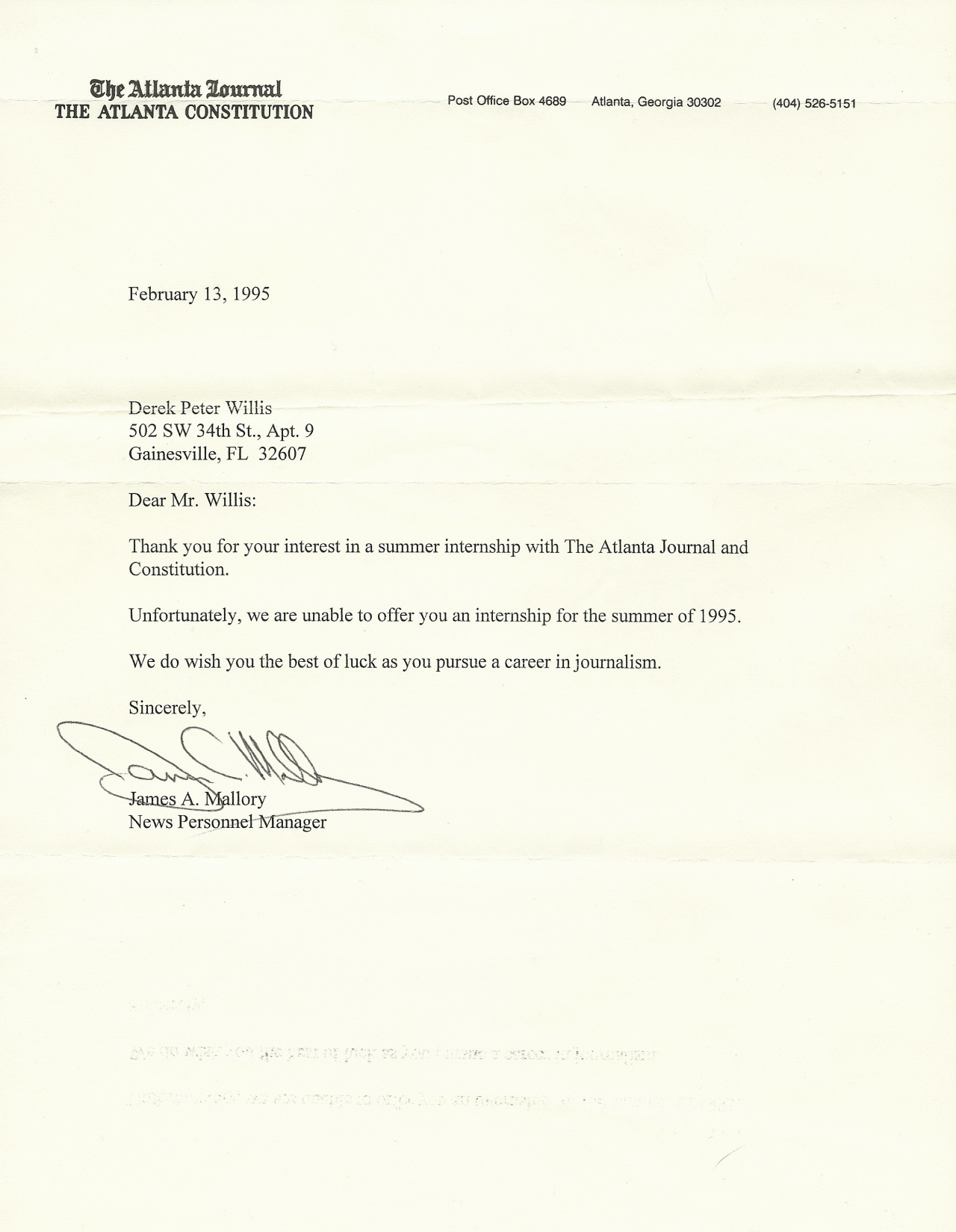 AJC rejection letter