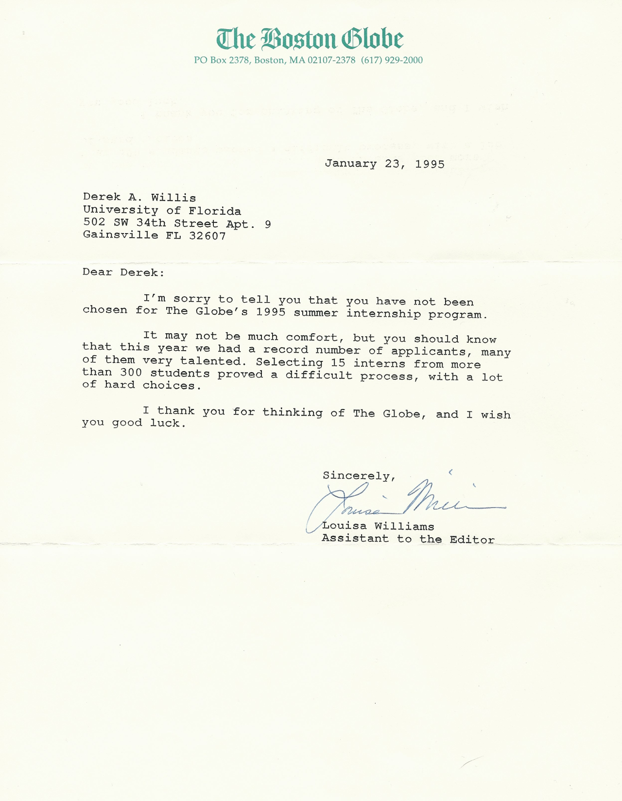 Globe rejection letter