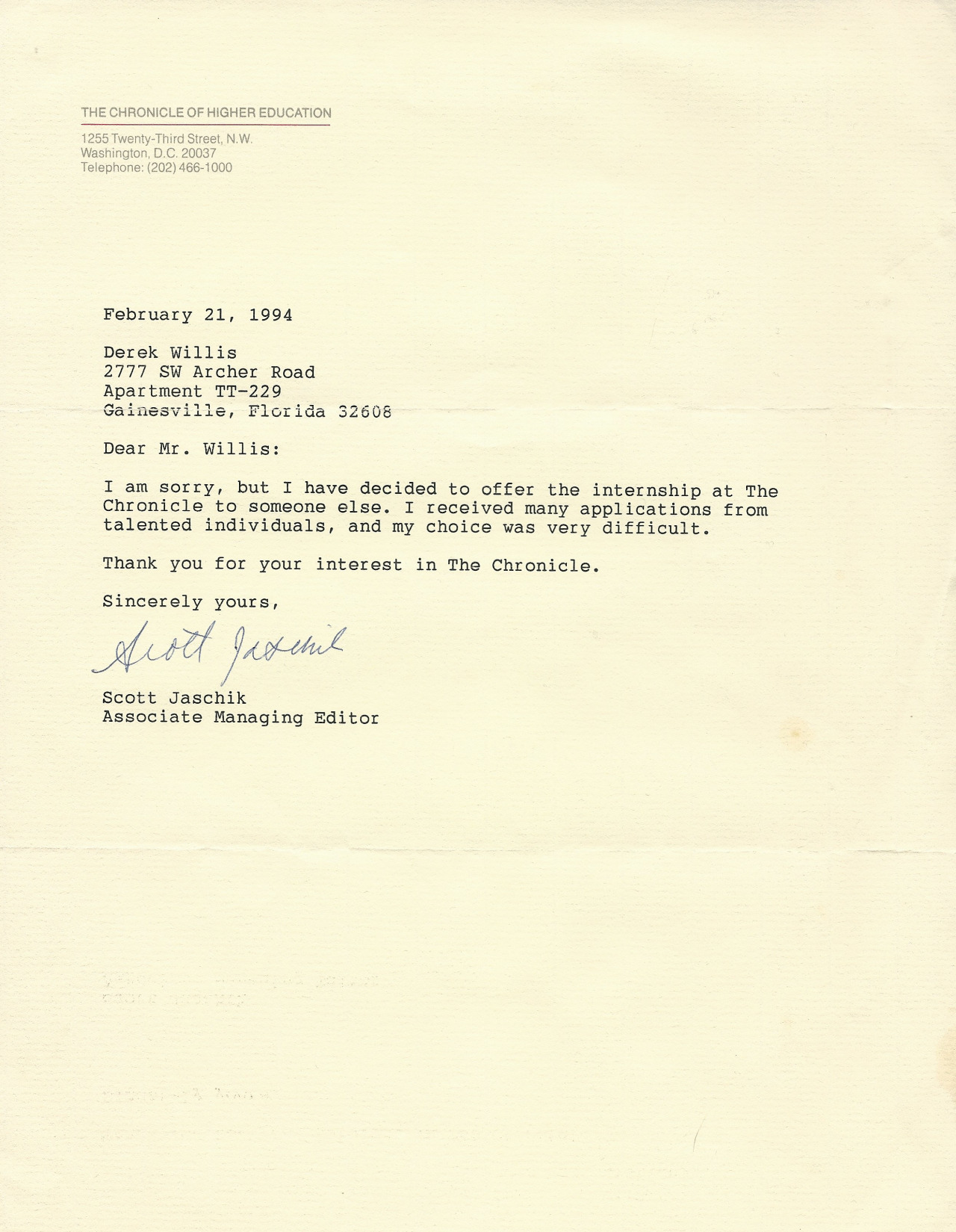 Chronicle rejection letter