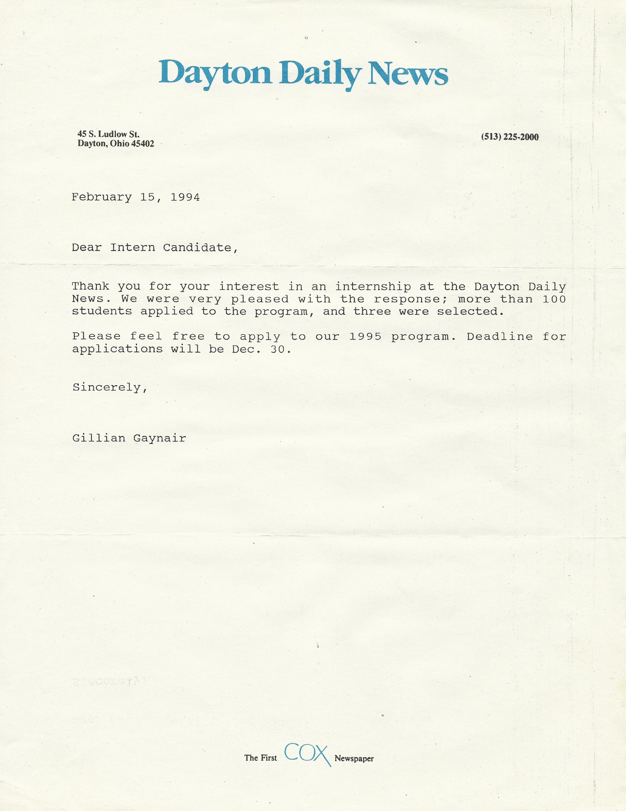DDN rejection letter