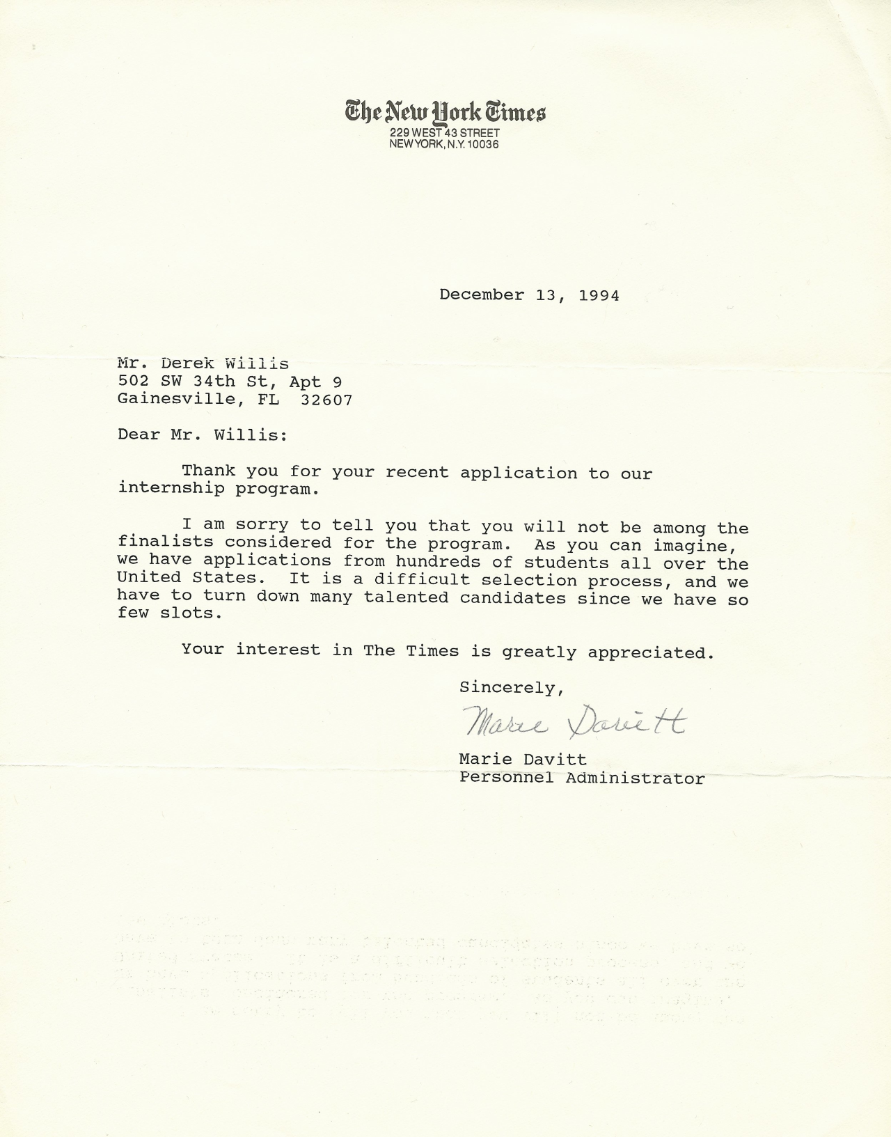 NYT rejection letter