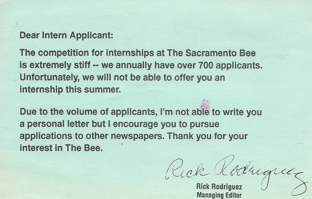SacBee rejection letter
