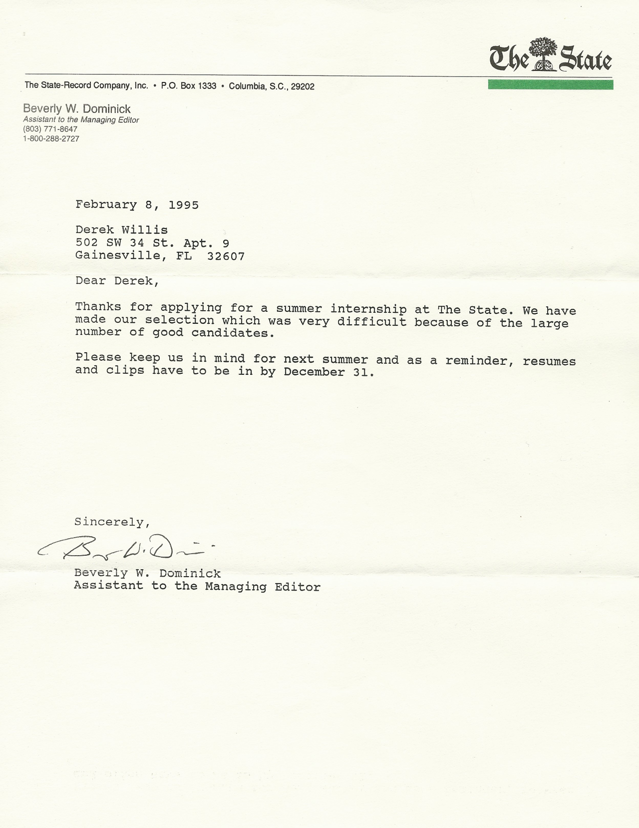 The State rejection letter
